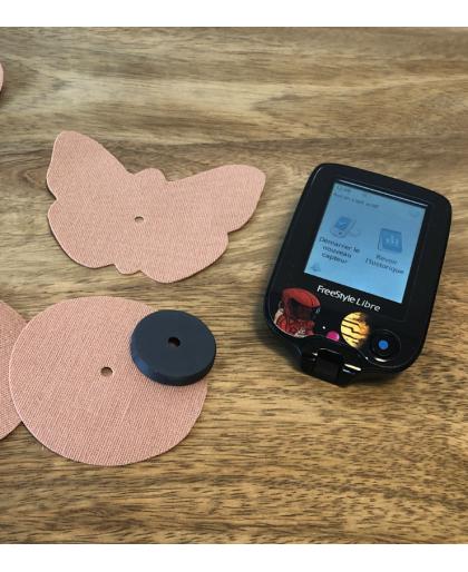 Capsule Fix'Tape pour Capteur FSL avec Bande adhésive Ronde